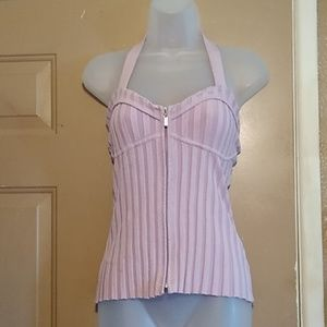 BEBE DUSTY PINK KNIT SILK HALTER TOP-SIZE LARGE
